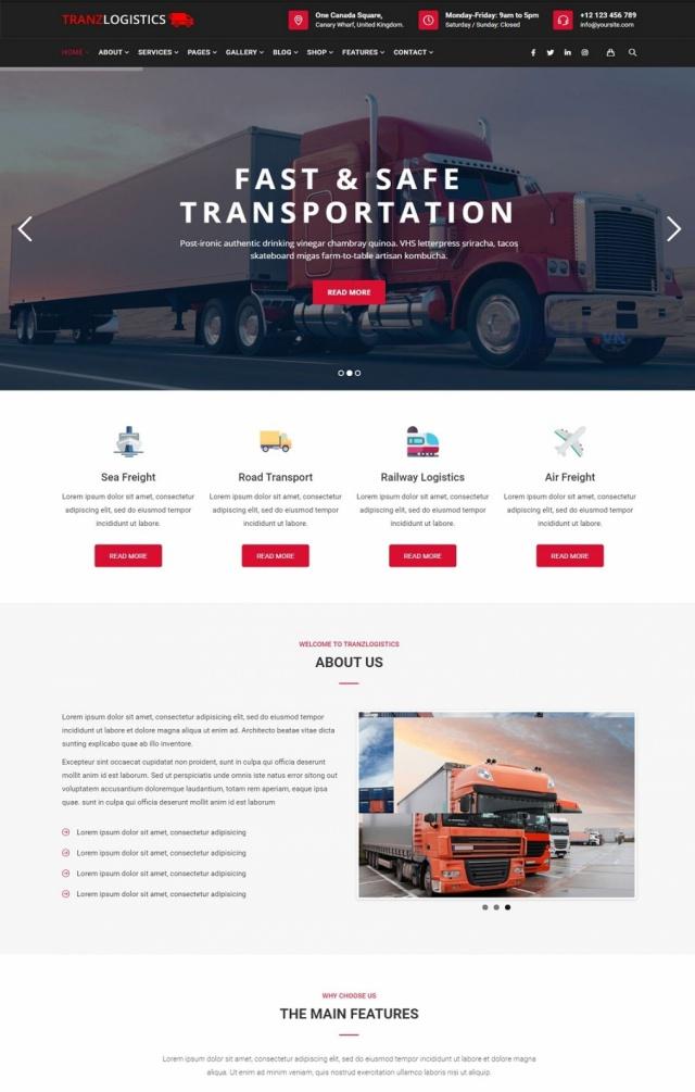 Mẫu web dịch vụ vận tải S02