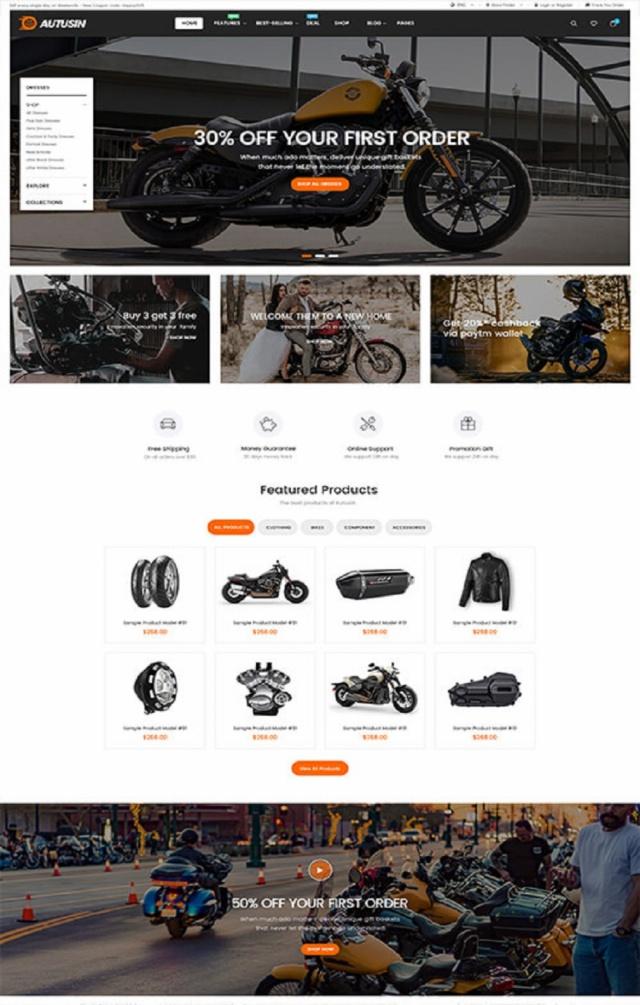 Mẫu web bán phụ kiện xe S4