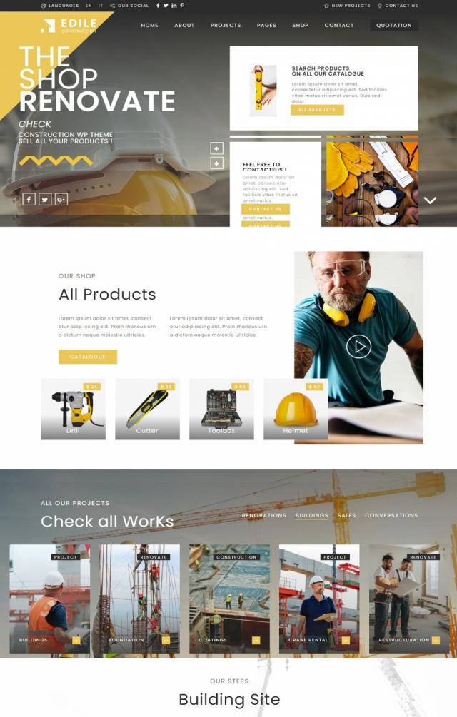 Mẫu web bán vật liệu xây dựng S1