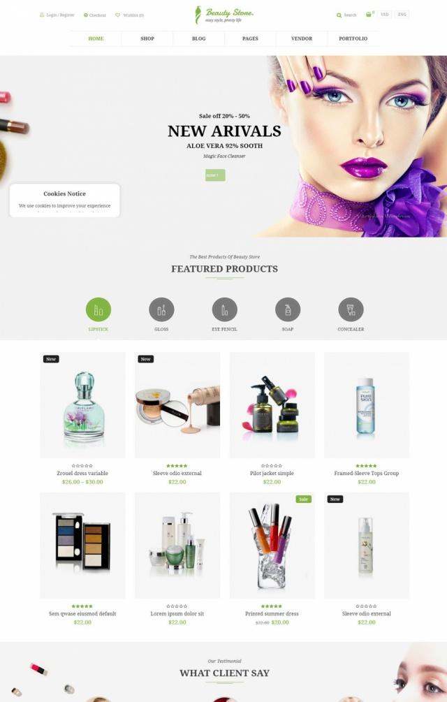 Mẫu website bán mỹ phẩm S6