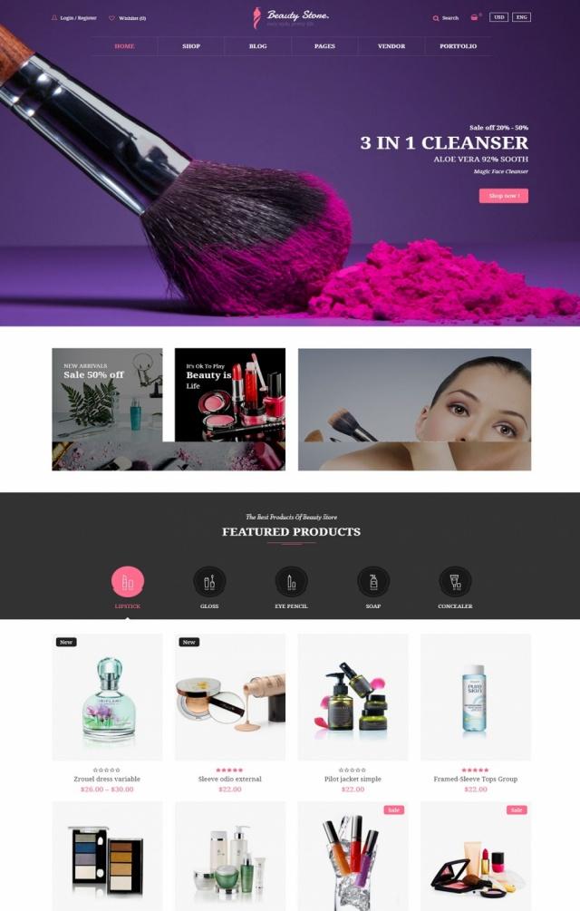 Mẫu website bán mỹ phẩm S7