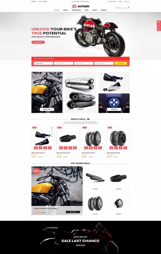 Mẫu web bán phụ kiện xe S5