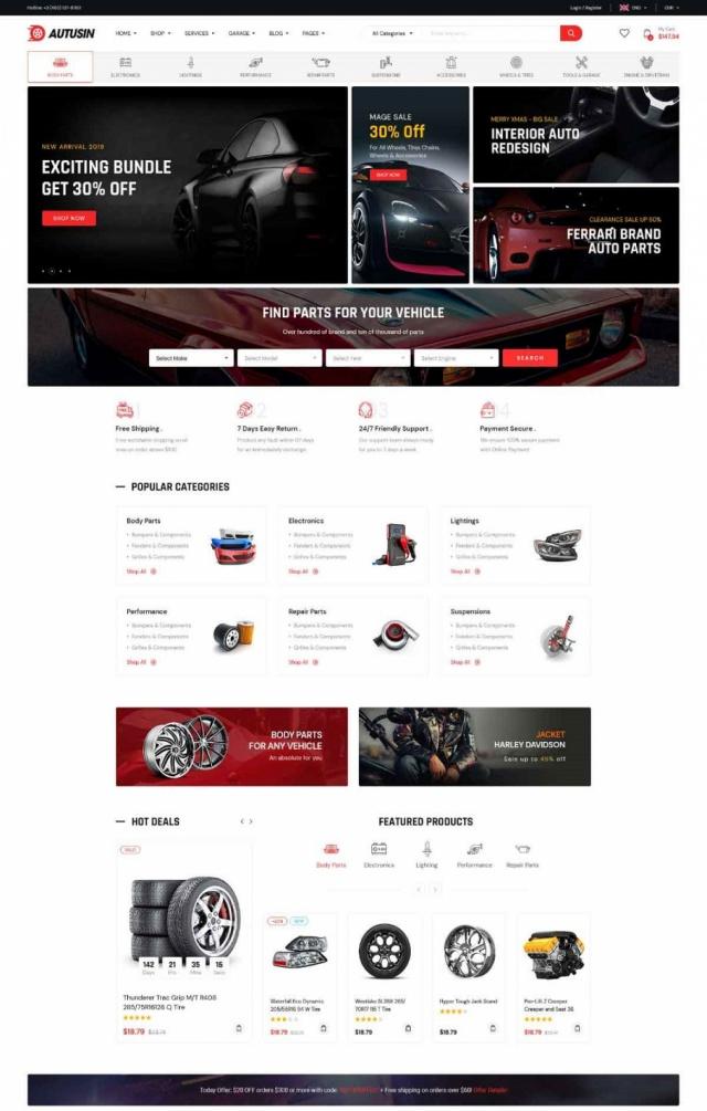 Mẫu web bán phụ kiện xe S2