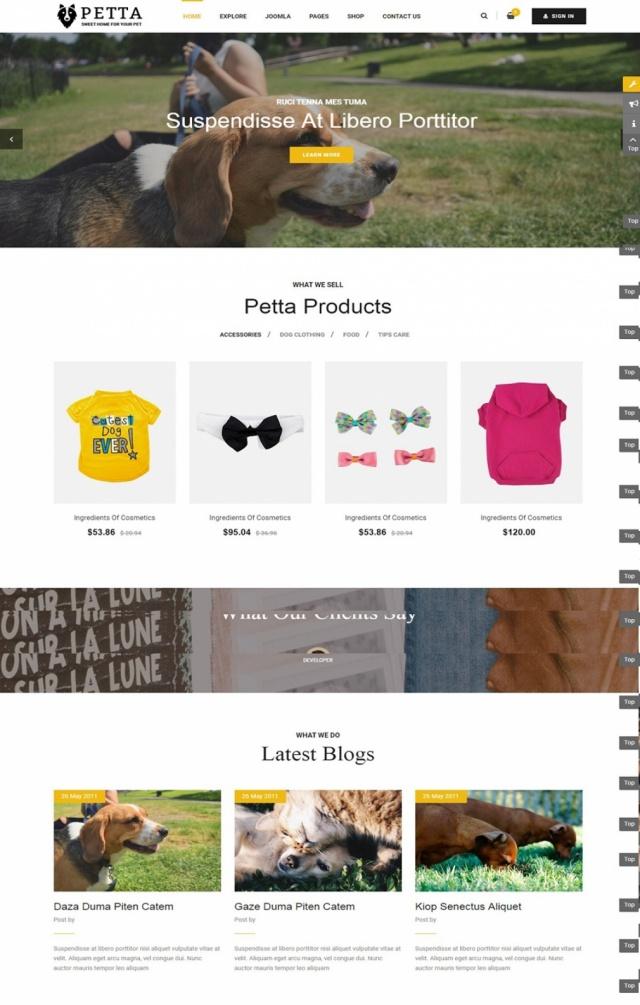 Mẫu web bán hàng thú cưng