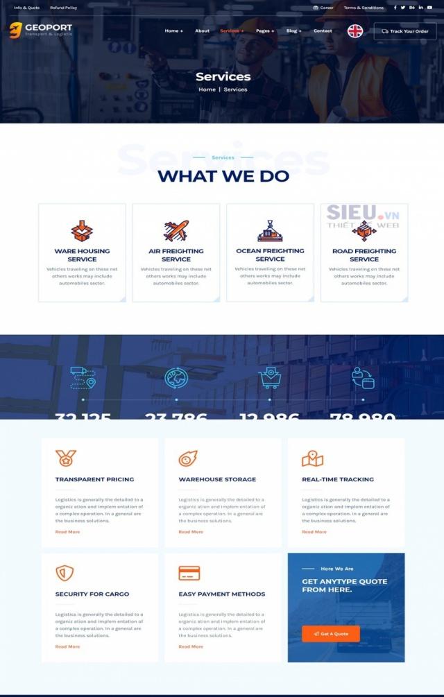 Mẫu web dịch vụ vận tải S07