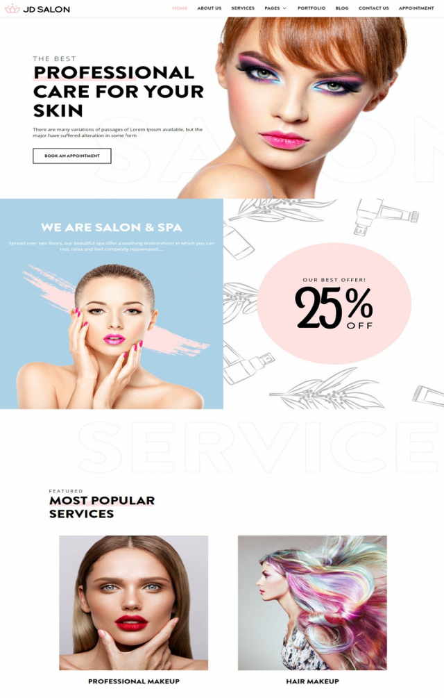Mẫu website thẩm mỹ spa