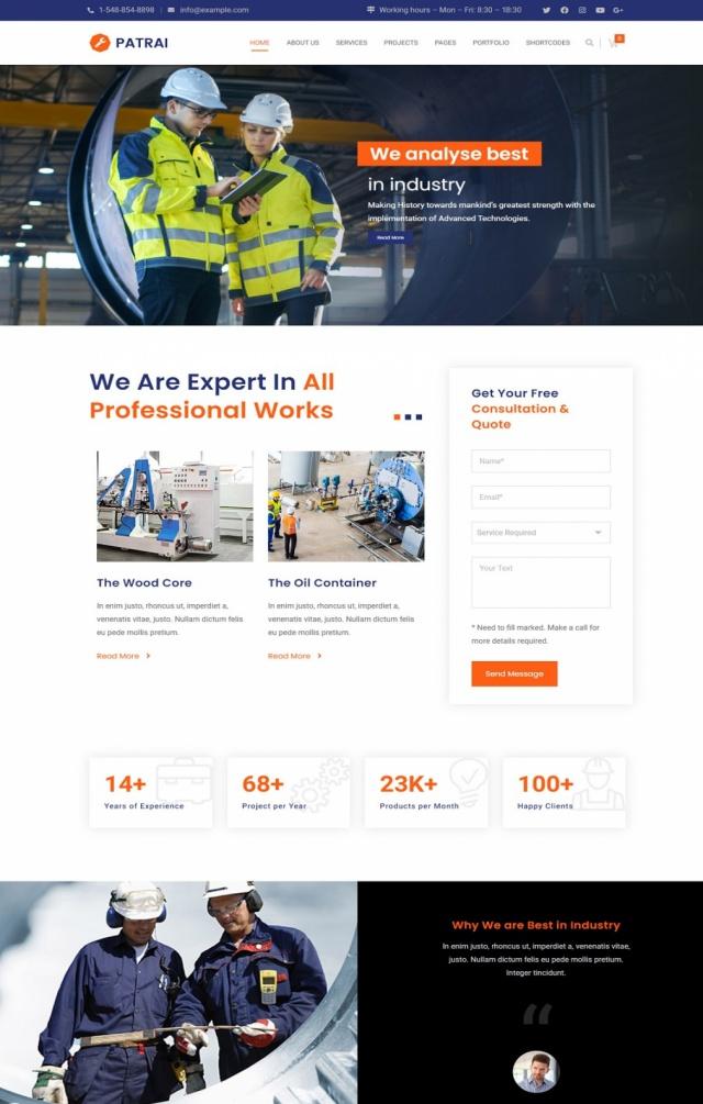 Mẫu web bán đồ công nghiệp S2