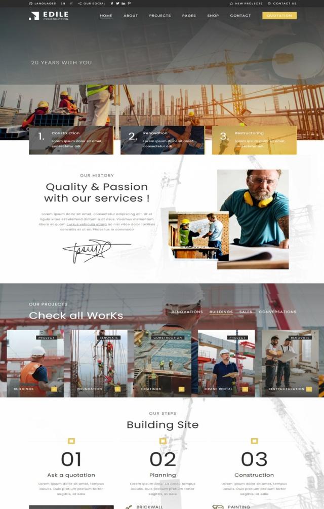 Mẫu web bán vật liệu xây dựng S5