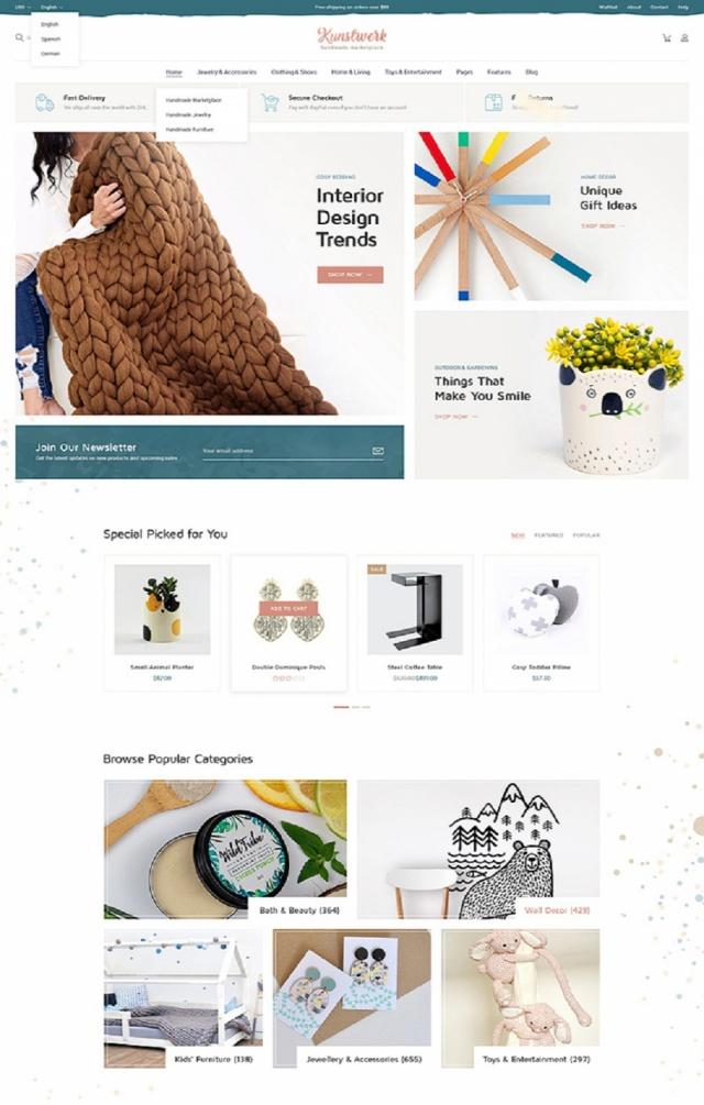 Mẫu website bán đồ thủ công mỹ nghệ giá rẻ