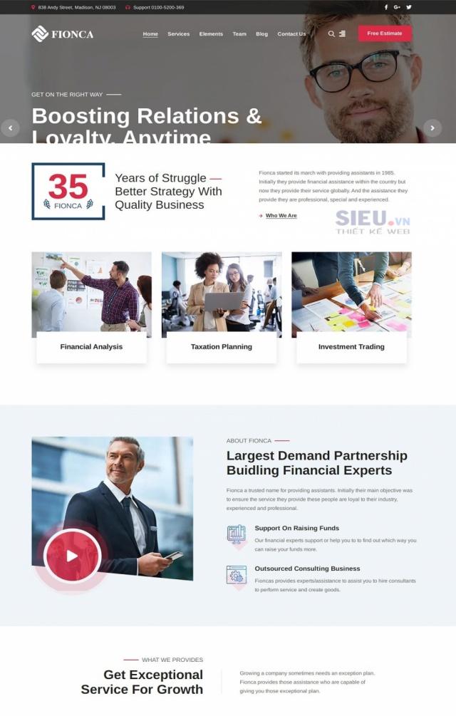 Mẫu web tài chính S06