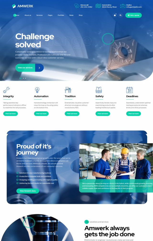 Mẫu web bán đồ công nghiệp S6