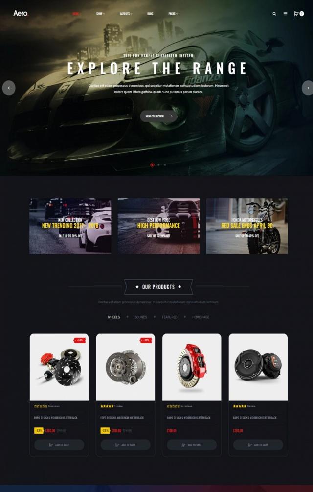 Mẫu web bán phụ kiện xe S1
