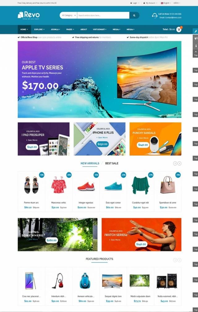 Mẫu web bán hàng điện máy