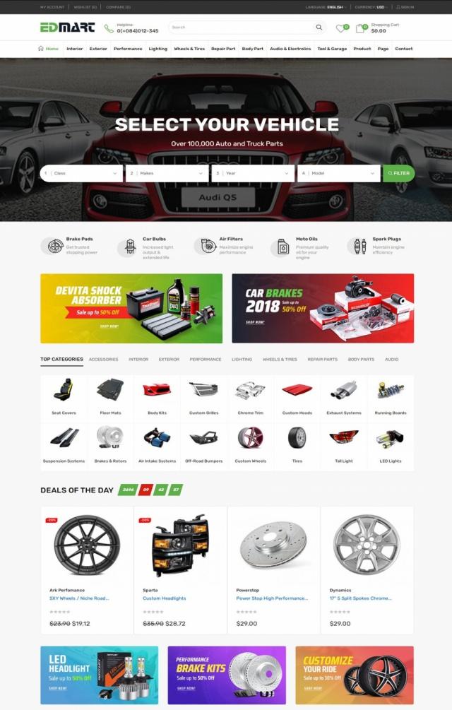 Mẫu web bán phụ tùng S2