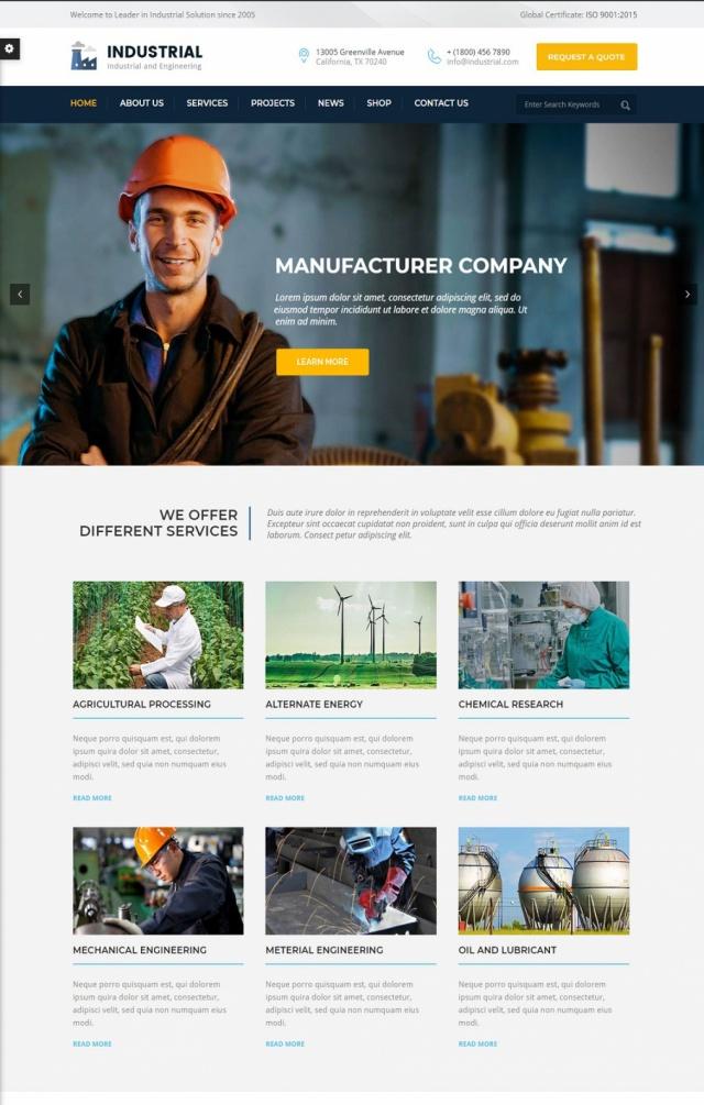 Mẫu web bán đồ công nghiệp S1
