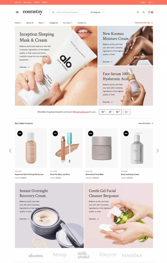 Mẫu website bán mỹ phẩm S3