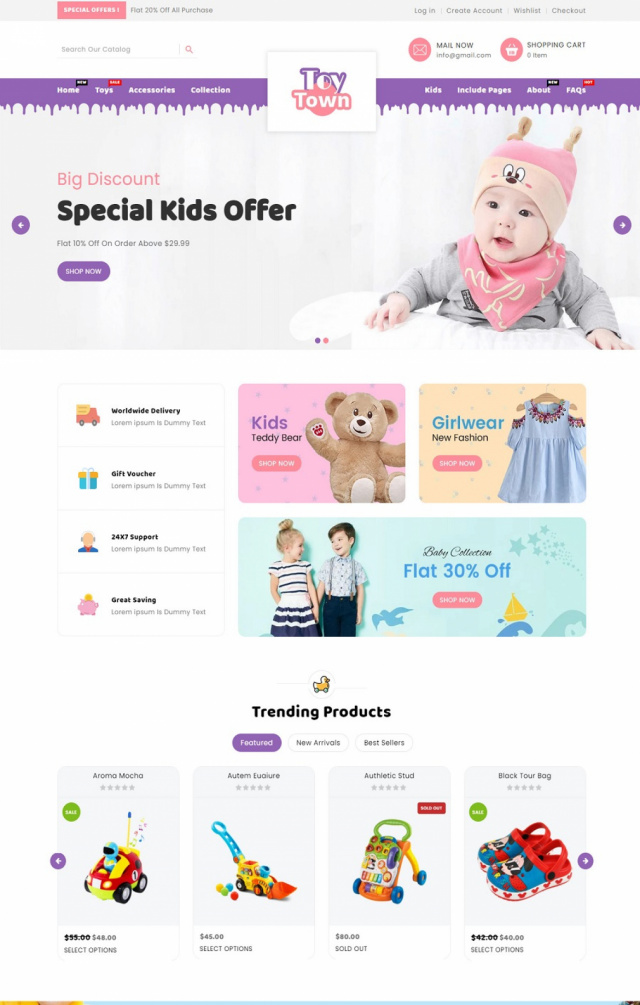 Mẫu website bán đồ chơi trẻ em S1