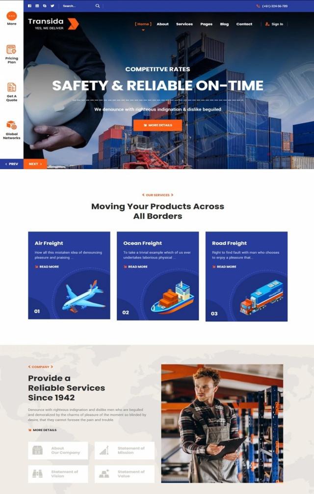 Mẫu web dịch vụ vận tải S01