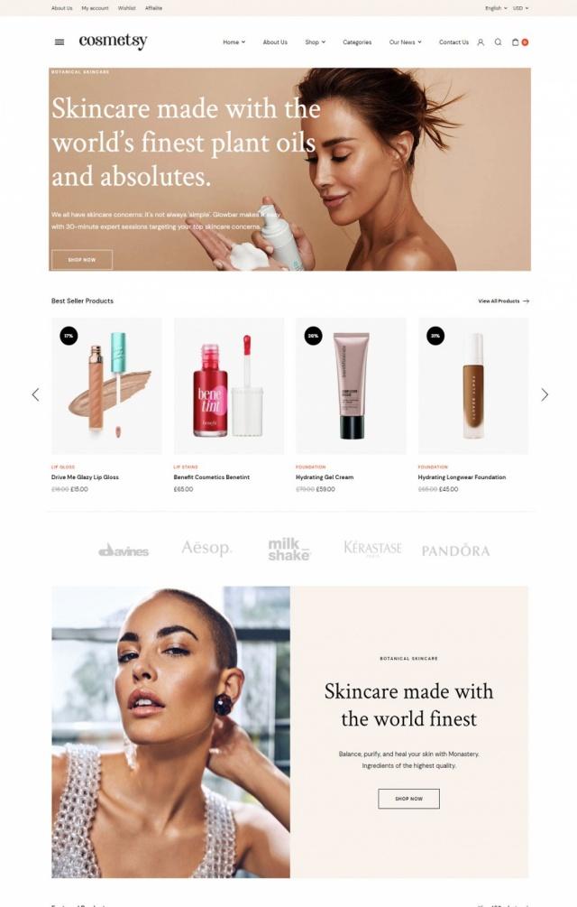 Mẫu website bán mỹ phẩm S2