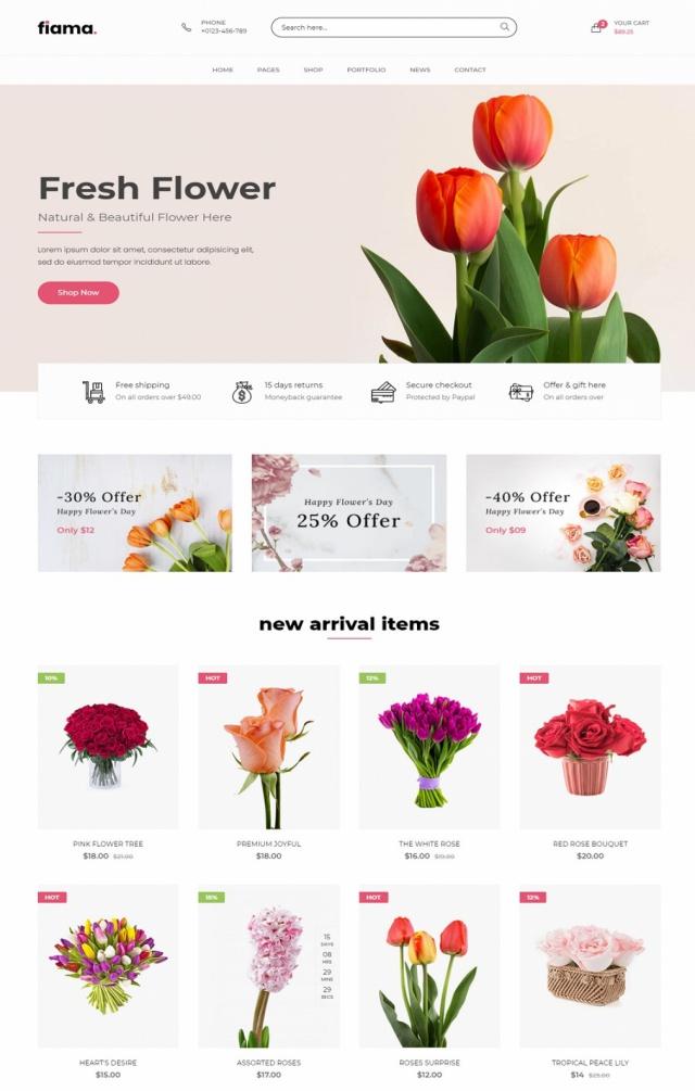 Mẫu web bán hoa S6