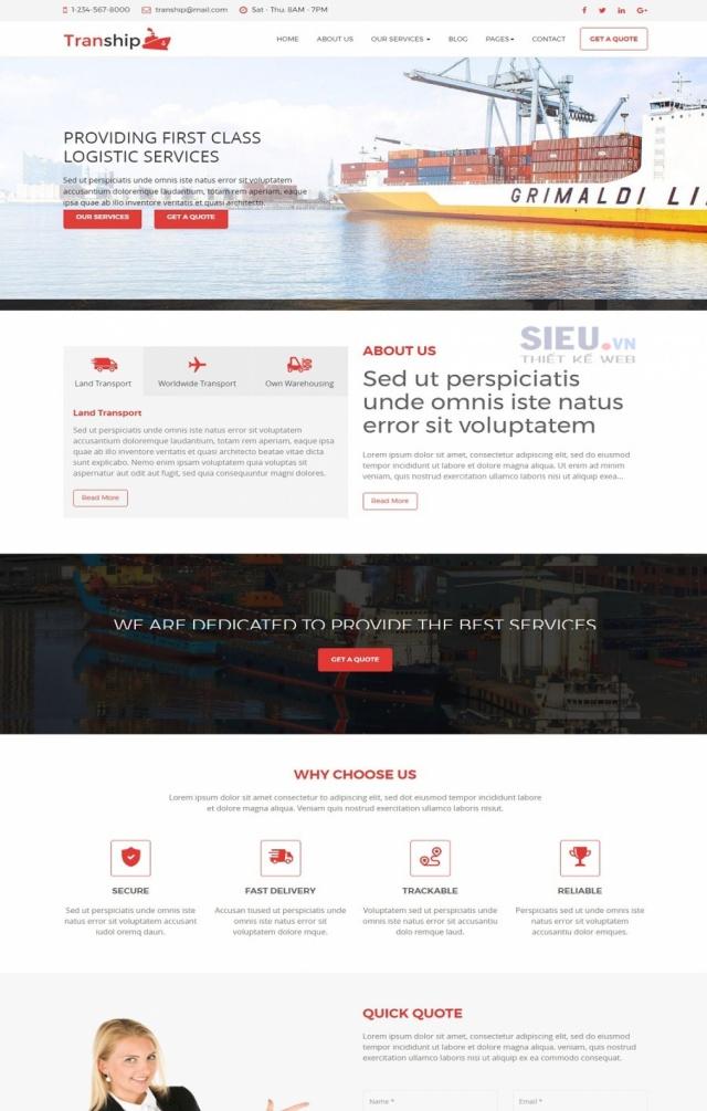 Mẫu web dịch vụ vận tải S04